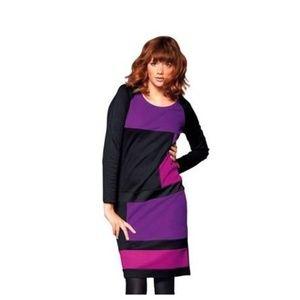 Redoute Purple Colorblock Tunic Dress, Size 4X